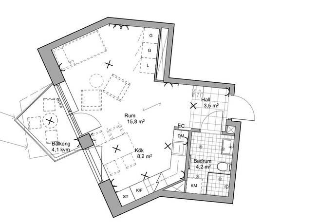 Bild: 1 rum bostadsrätt på Kungsljusgatan 7, Västerås kommun Gideonsberg