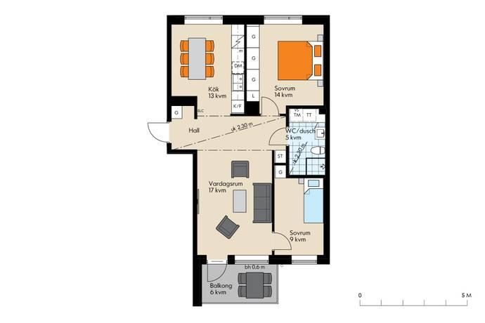 Bild: 3 rum bostadsrätt på Fernissagatan 8, Malmö kommun Limhamn