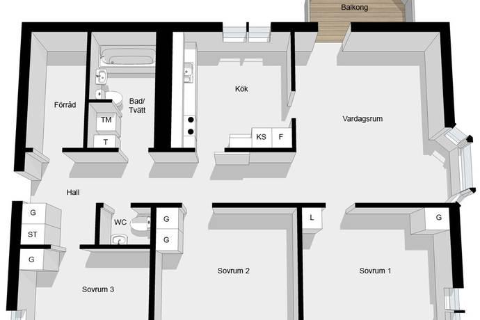 Bild: 4 rum bostadsrätt på Tämnarvägen 26 A, Stockholms kommun Årsta