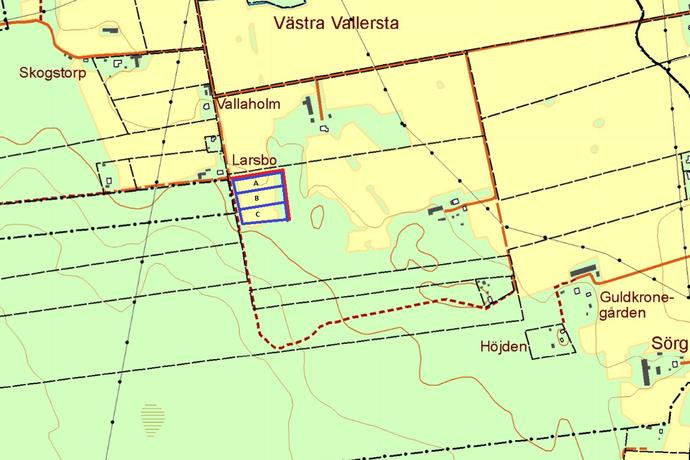 Bild: tomt på Vallersta Kumla, Kumla kommun Vallersta, väster om Kumla