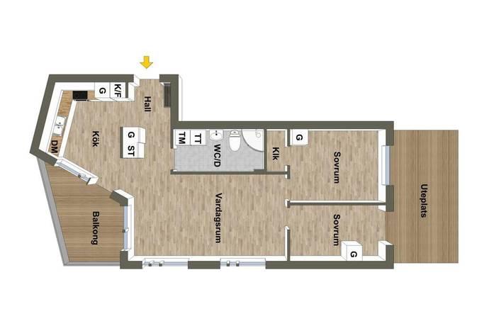 Bild: 3 rum bostadsrätt på Vallagränd 18, Haninge kommun Handen