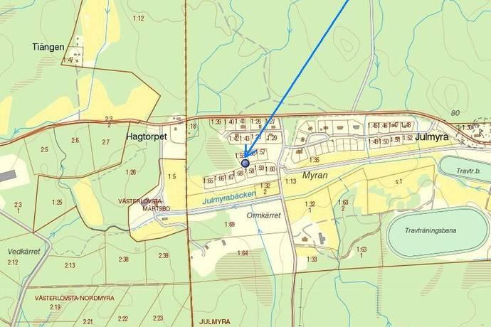 Bild: tomt på Ponnystigen 6, Heby kommun Julmyra