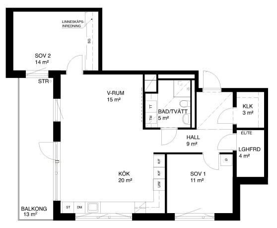 Bild: 3 rum bostadsrätt på Tre Kronors väg 2, Nacka kommun Kvarnholmen