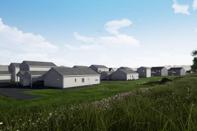 Bild från Lövenstrand, Viksta By - Nyckelfärdigt boende med asfalterad carport/parkering, fiber och gräsmatta.