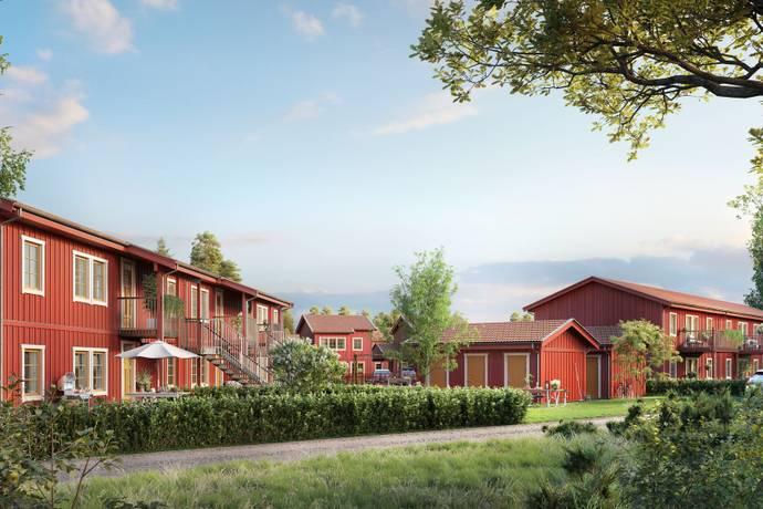 Bild från Brf Herrgårdsbyn - ett avskilt kvarter med vidsträckt orörd natur inpå knuten!