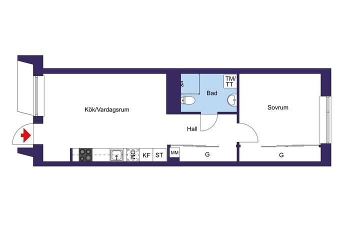 Bild: 2 rum bostadsrätt på Gamla Enköpingsvägen 152, 4TR, Sundbybergs kommun Sundbyberg , Stora Ursvik