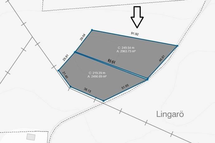 Bild: tomt på Lingarövägen 43C, Hudiksvalls kommun