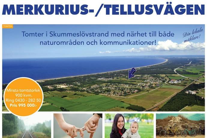 Bild: tomt på MERKURIUSVÄGEN / TELLUS - TOMTER, Laholms kommun Skummeslövsstrand