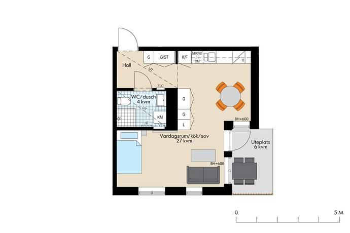Bild: 1 rum bostadsrätt på Brogatan 9, Sundbybergs kommun Västra Brotorp