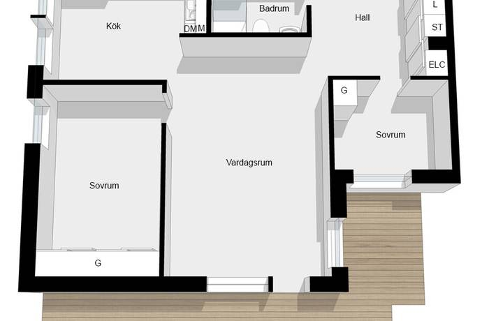 Bild: 3 rum bostadsrätt på Solnavägen 96B, Solna kommun Råsunda
