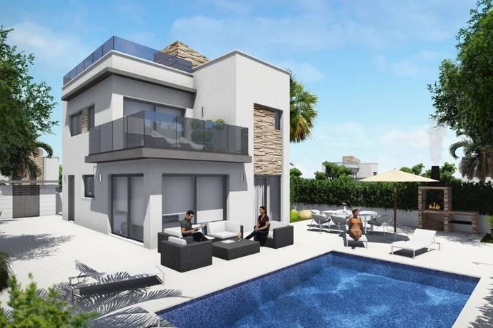 Villas golf blue lagoon i el galan san miguel de salinas friliggande villa till salu hemnet for Modern huis binnenhuisarchitectuur villas